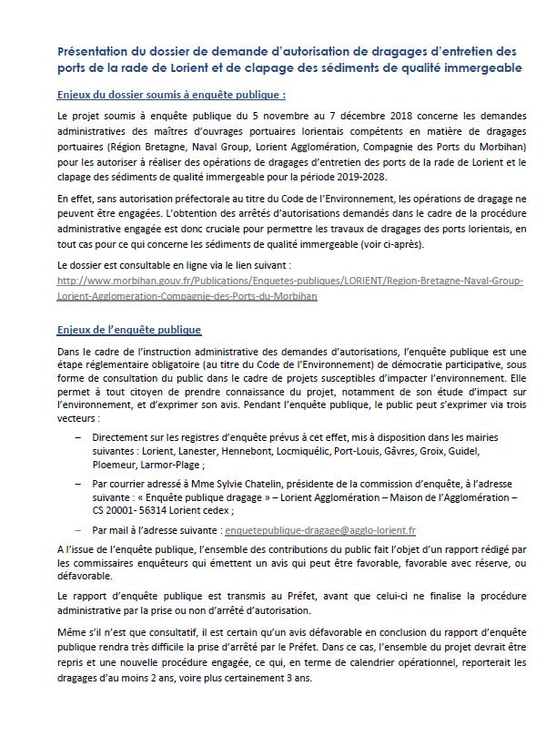 Dossier enquête publique dragage ports de la rade de Lorient